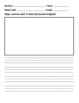 Spanish Writing Prompts Calendars and Worksheets