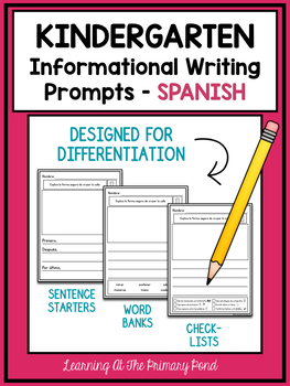 SPANISH Writing Prompts for Kindergarten Informational Writing
