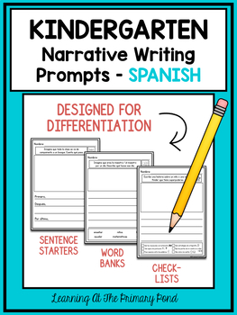 SPANISH Writing Prompts for Kindergarten Narrative Writing