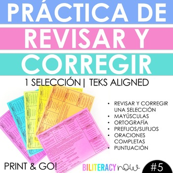 Spanish STAAR Writing Revise and Edit Practice with One NEW Passage 12/17 #5