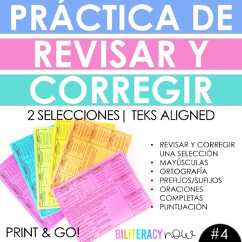 Spanish Writing Revise and Edit STAAR Practice with Two NEW Passages