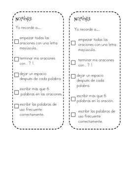 Spanish Writing Rubric Bookmark