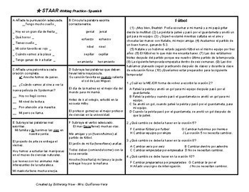Spanish STAAR Writing Revise/Edit Practice with 3 NEW Passages 9.17 #3