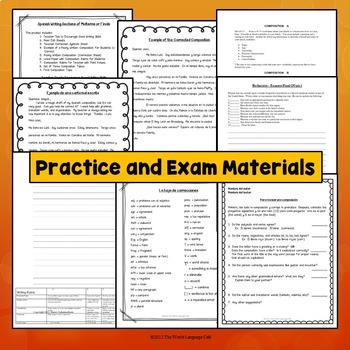 Spanish Writing Test for Midterm, Final Exam for Intermediates