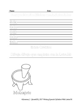 Spanish Writing: Syllables With Letter M