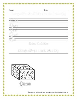 Spanish Writing:  Syllables with Letter Q