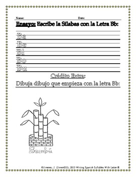 Spanish Writing: Syllables with letter B