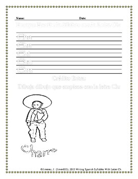Spanish Writing: Syllables with letter Ch