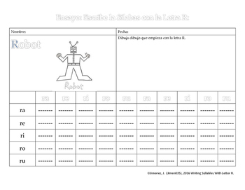 Spanish Writing:  Writing Syllables with Letter R