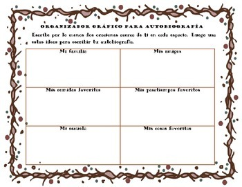 Spanish: Writing an Autobiography (Prewriting Tool/Graphic Organizer)