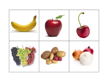 Spanish  Writing and Spelling Activity with Fruits and Vegetables
