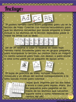 Spanish - Letter Tracing, Anchor Charts+Practice - Trazo de letras