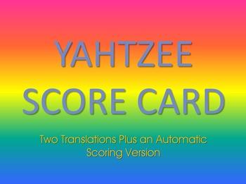 Spanish Yahtzee Score Card