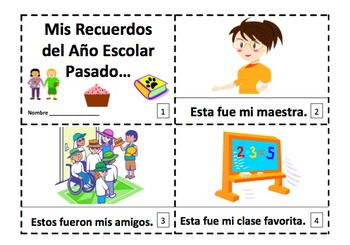 Spanish Year End School Memories 2 Early Reader Booklets