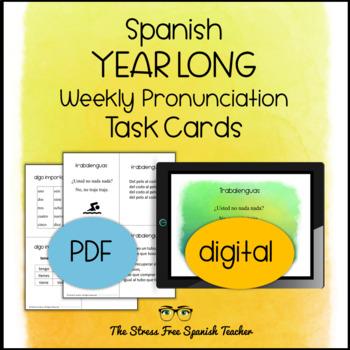 Spanish - Year Long, Weekly Pronunciation / Speaking Task Cards, Editable!