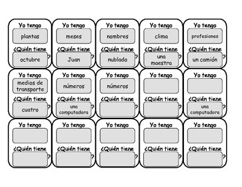"""Spanish """"Yo Tengo, Quien Tiene..."""" (""""I have, Who Has..."""") Game - Categorías"""