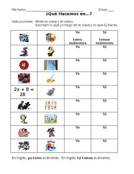 "Spanish ""Yo"" and ""Tú"" form -AR Verb Practice"