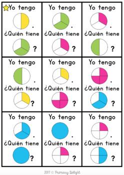 Spanish Fractions: Yo tengo... ¿Quién Tiene?... Fracciones