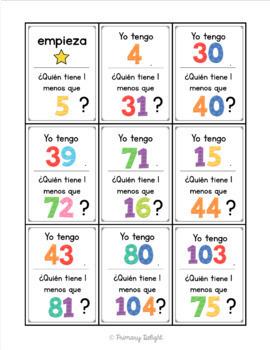 Spanish: Yo tengo... ¿Quién tiene...? 1 más/menos y 10 más/menos