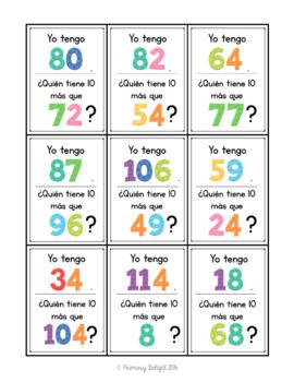 Spanish: Yo tengo... ¿Quién tiene...? 10 más (A Place Value Game)