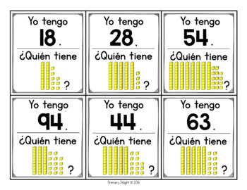 Spanish: Yo tengo... ¿Quién tiene...? Base Ten with Exchanges (Place Value)