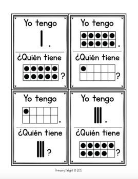 Spanish: Yo tengo... ¿Quién tiene...? Subitizing to 10 Bundle