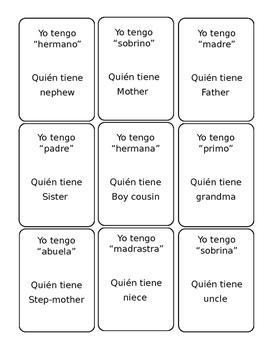 """Spanish- """"Yo tengo...quien tiene"""" game (family vocab)"""