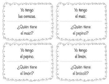 """Spanish """"Yo tengo....¿Quién tiene?"""" I have...who has? for fruits/veggies frutas"""