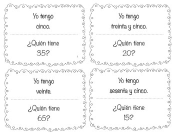 "Spanish ""Yo tengo....¿Quién tiene?"" I have...who has? for numbers 0-100 by 5s"