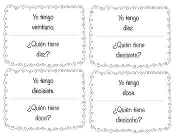 "Spanish ""Yo tengo....¿Quién tiene?"" I have...who has? for numbers 1-25"
