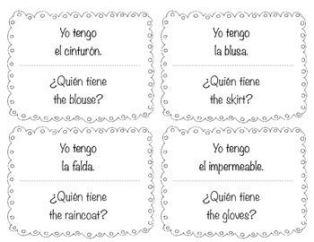 "Spanish ""Yo tengo....¿Quién tiene?"" ""I have...who has?"" game for clothes (ropa)"