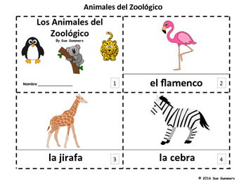Spanish Zoo Animals 2 Emergent Reader Booklets - Animales