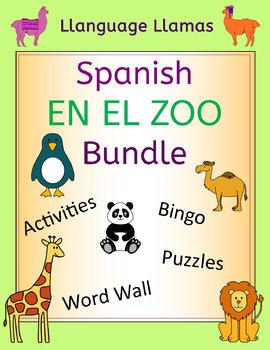 Spanish Zoo Animals Bundle - En El Zoo - Activities Puzzles Word Wall Bingo