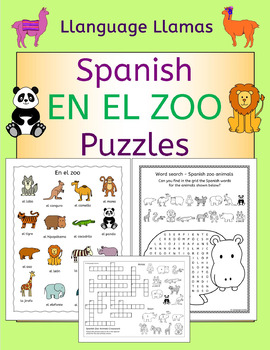Spanish Zoo Animals - En El Zoo - Puzzles Pack - los animales