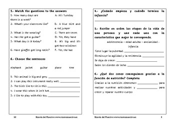 Spanish activities 3º Primary School