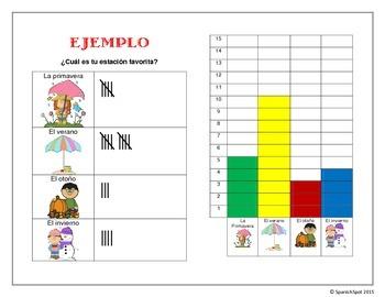Spanish activity: Favorite season- Tally chart and graph
