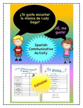 Spanish activity- Me gusta, te gusta, & le gusta + actividad