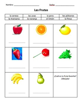 Spanish activity--fruits and vegetables