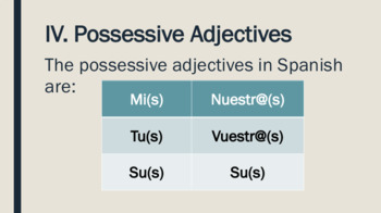 Spanish adjective notes