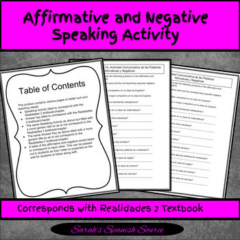 Spanish affirmative and Negative words Speaking Activity