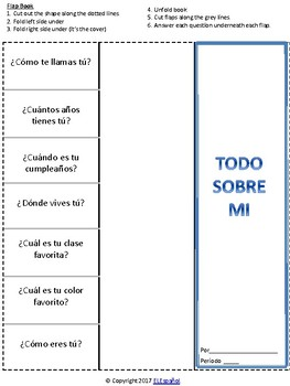 Spanish all about me flip book / todo sobre mi