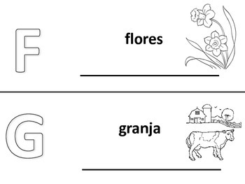 Spanish alphabet book pages letters f and g, Spanish alfabeto