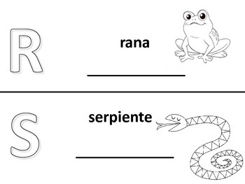 Spanish alphabet book pages letters r and s, Spanish alfabeto