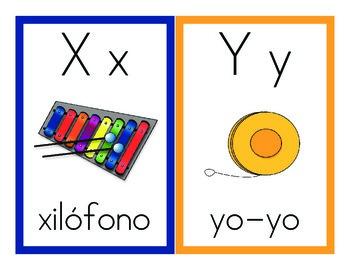 Spanish alphabet cards. Tarjetas Alfabeto en español.