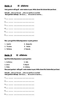 Spanish alphabet partner activity
