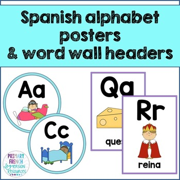 Spanish alphabet posters and word wall headers