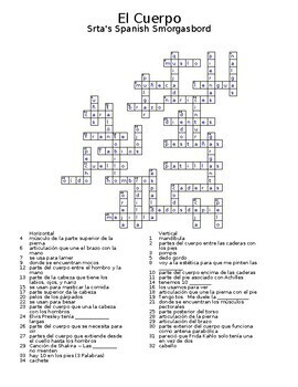 Spanish anatomy crosswords