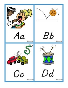 Spanish and English ABC Sound Clues Word Wall Sm Sized Cards D'Nealian Print