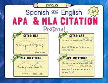 Spanish and English APA and MLA Citation Posters –Set of 4!