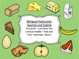 Spanish and English Bilingual Food Flash Cards with Pictures